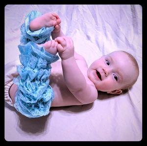 Aqua lace ruffle legwarmers